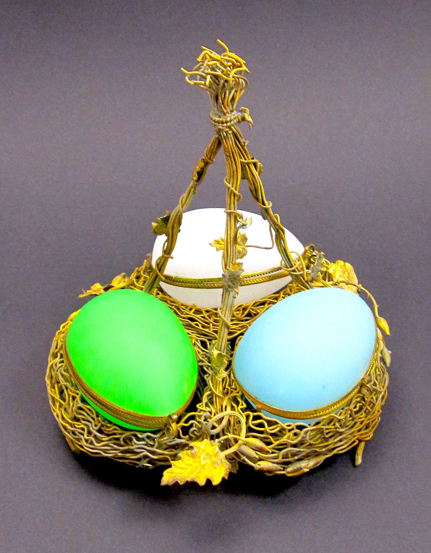 Palais Royal Triple Opaline Glass Egg Wigwam Casket