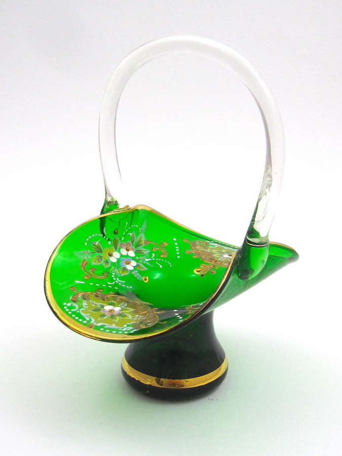 Antique MOSER Green Crystal Basket with Applied Glass Flowers