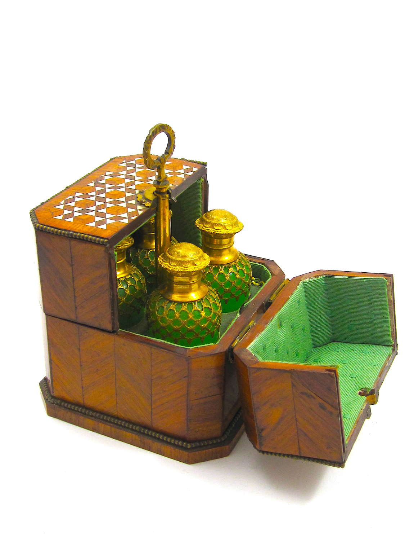 Antique High Quality Palais Royal Green Opaline Glass Perfume Set