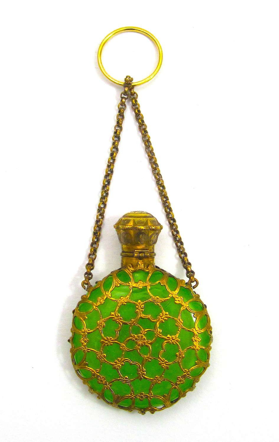 Antique Palais Royal Green OplaineGlass Scent Bottle with Chatelaine