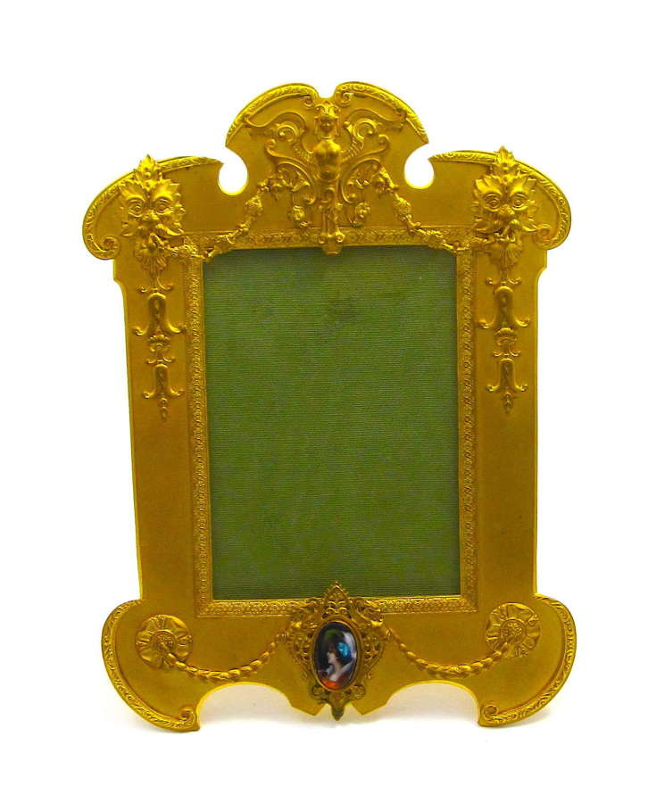 Antique French Gilt Bronze and SilkFrame with Fine Limoges Miniature