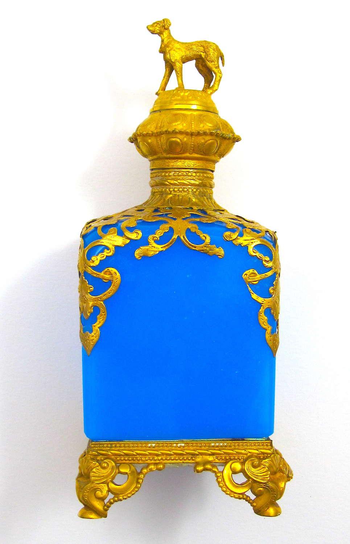 Large Antique Palais Royal Blue Opaline Glass Perfume Bottlewith Dog