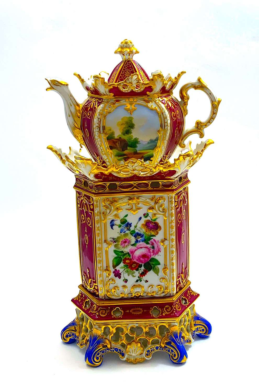 Rare AntiqueFrenchParis PorcelainVeilleuse andTisaniére