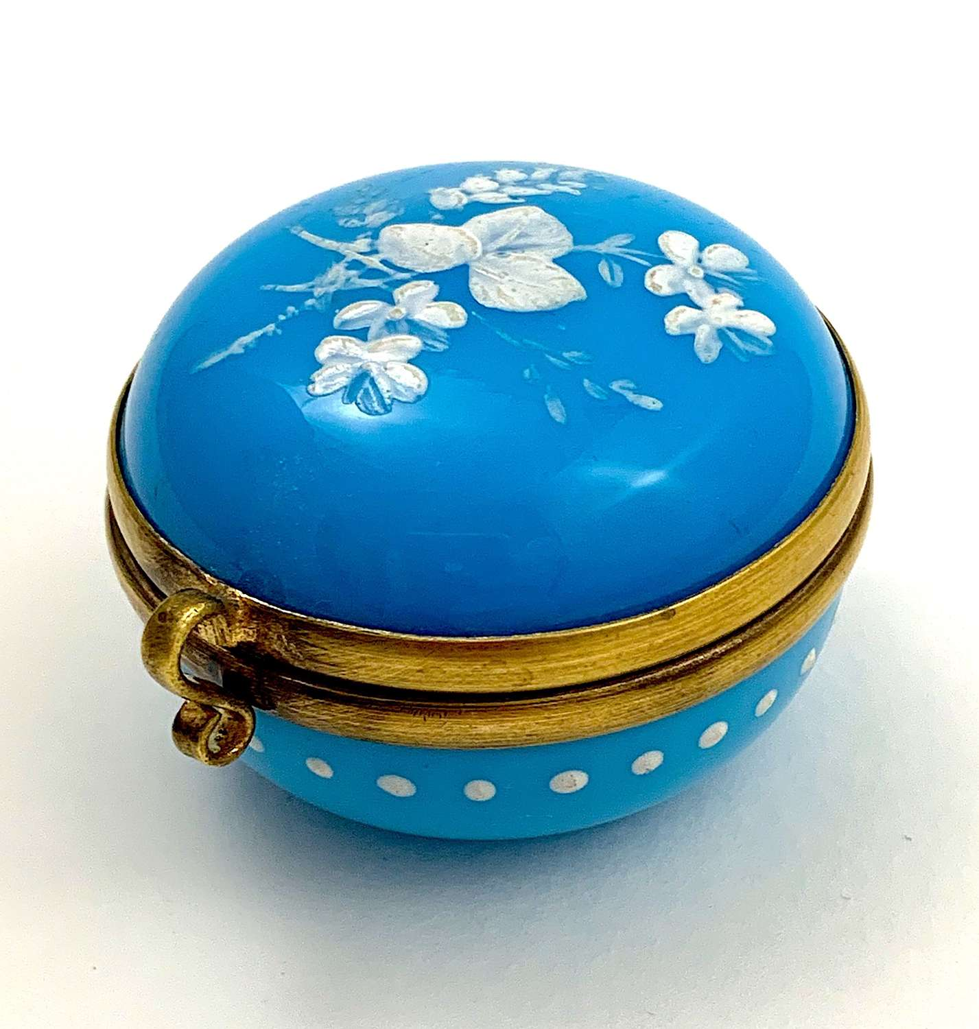 Antique French Aqua Blue Opaline Glass Pill Box