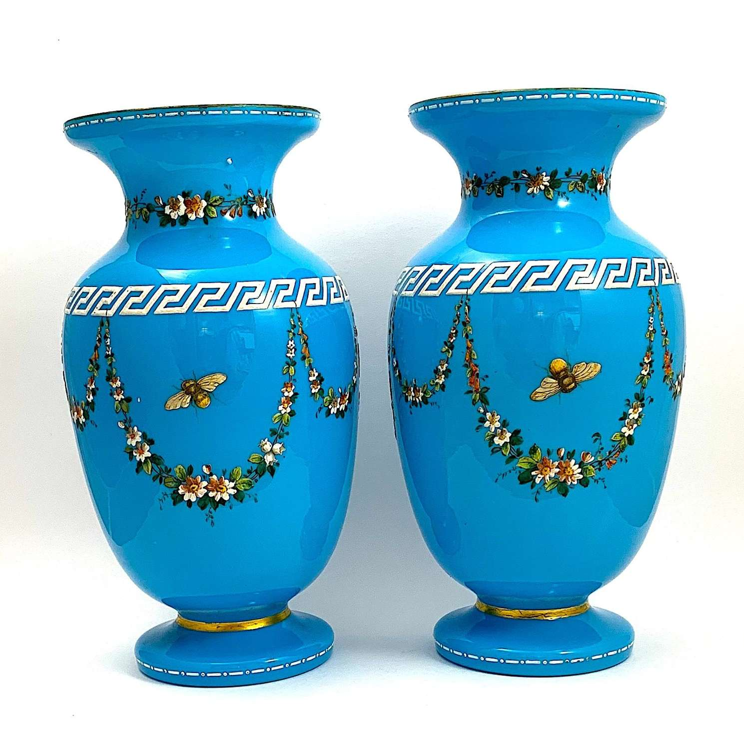 Pair of Antique Moser Blue Opaline Vases with Butterflies and Flowers