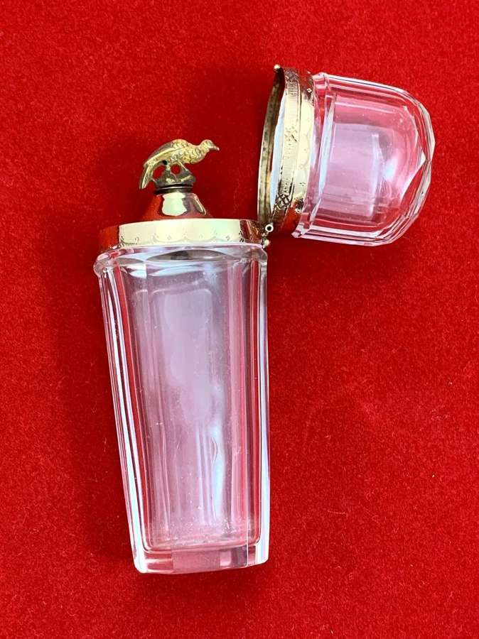 Rare Antique Crystal Perfume Bottle with 14 Carat Gold Bird
