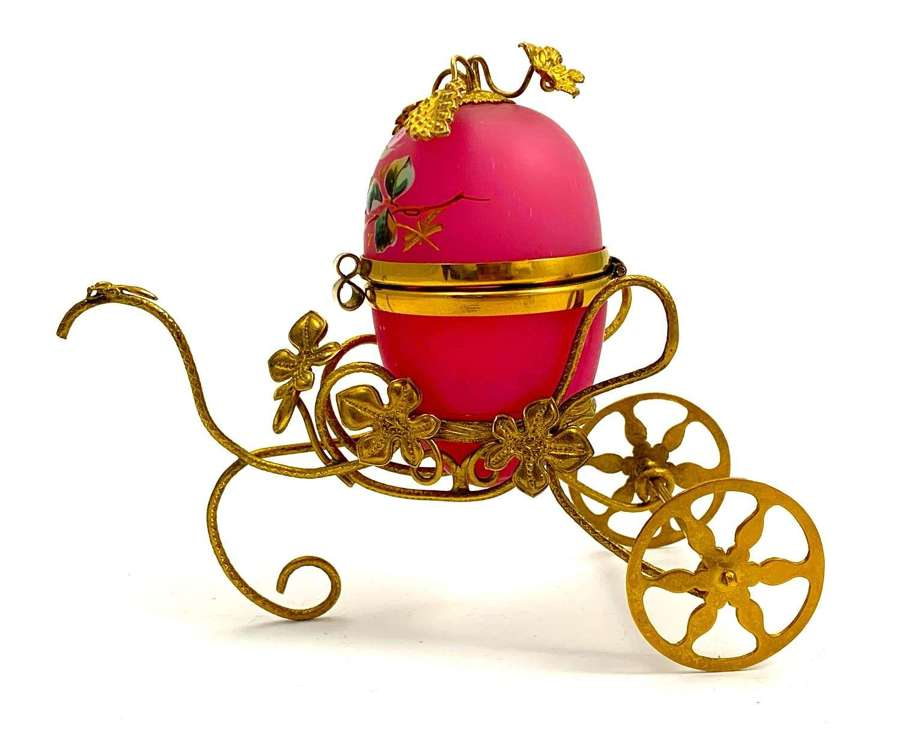 Antique French Palais Royal Pink Opaline Glass Egg Carriage