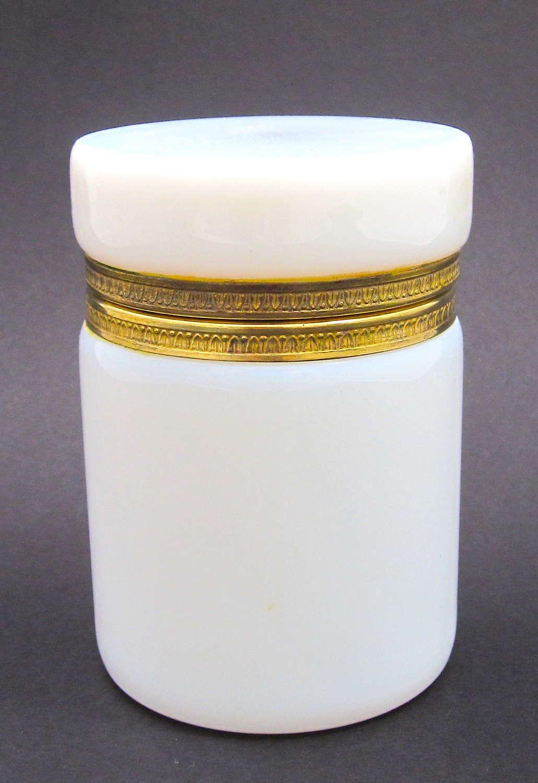 Antique French White 'Bulle de Savon' Opaline Glass Box