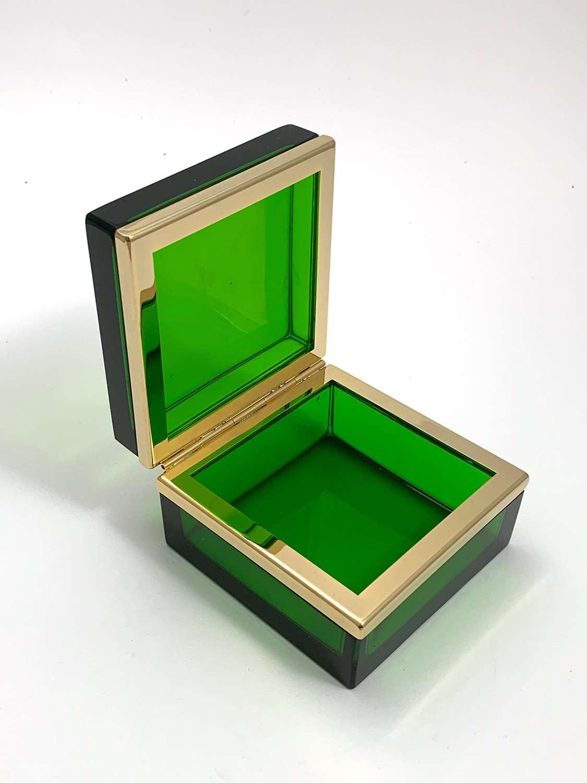 Vintage Murano Emerald GreenGlass Casket Box