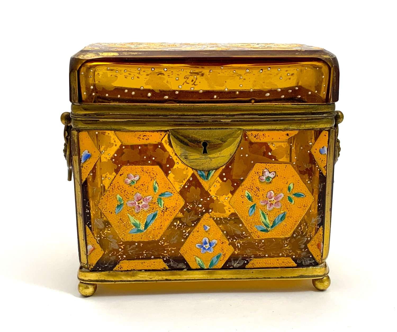AntiqueMOSER AmberGlassCasket with Hexagonal and Diamond Pattern