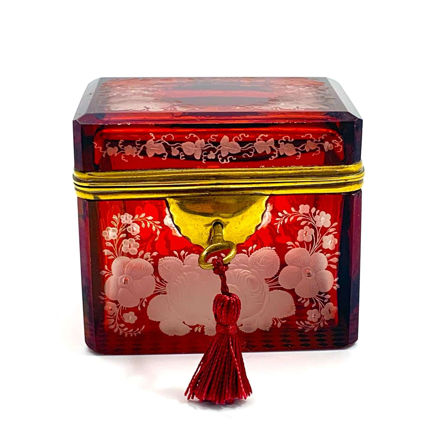 Antique Bohemian Ruby Red Glass Casket Engraved with Large Flowers