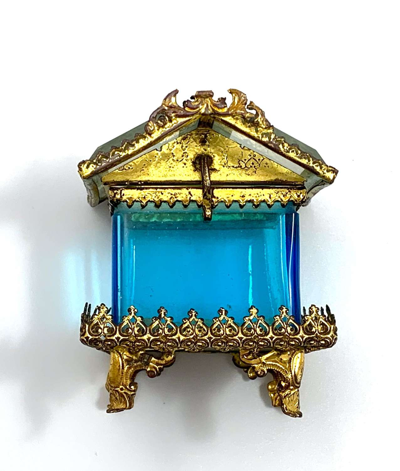 Antique French Dore Bronze Pagoda Style Casket with Turquoise Glass