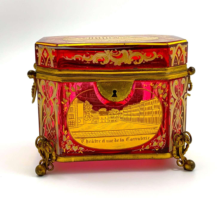 Stunning Antique Bohemian Cranberry PinkEnamelled Glass Casket