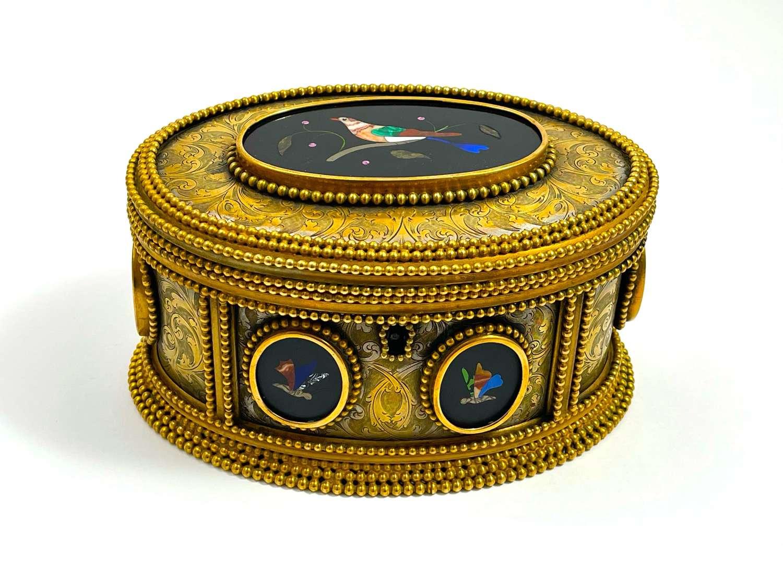 AntiqueTahan Paris,Pietra Dura Jewellery Casket Box
