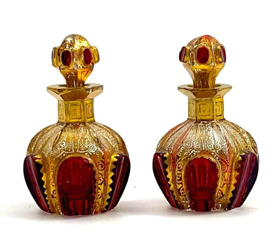 Pair of Antique Miniature MOSERPerfume Bottles with Ruby Cabochons
