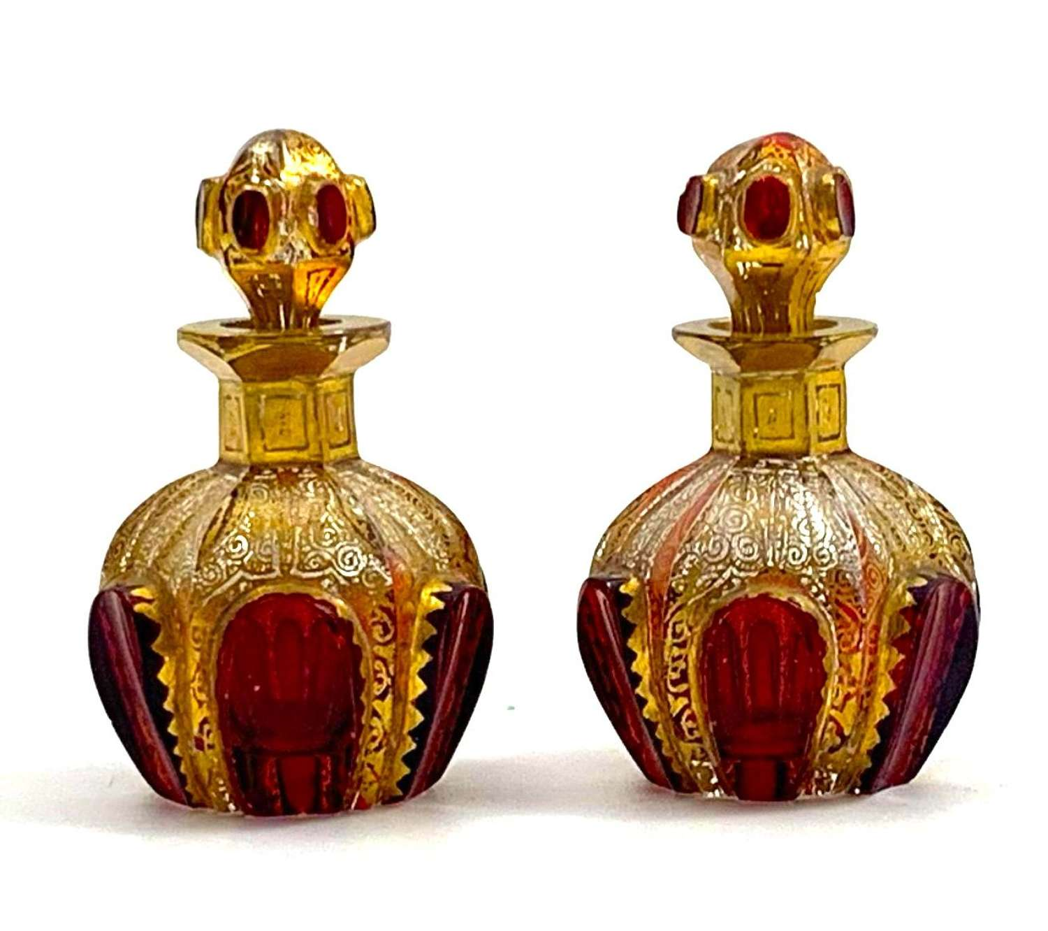 Pair of Antique Miniature MOSER Perfume Bottles with Ruby Cabochons