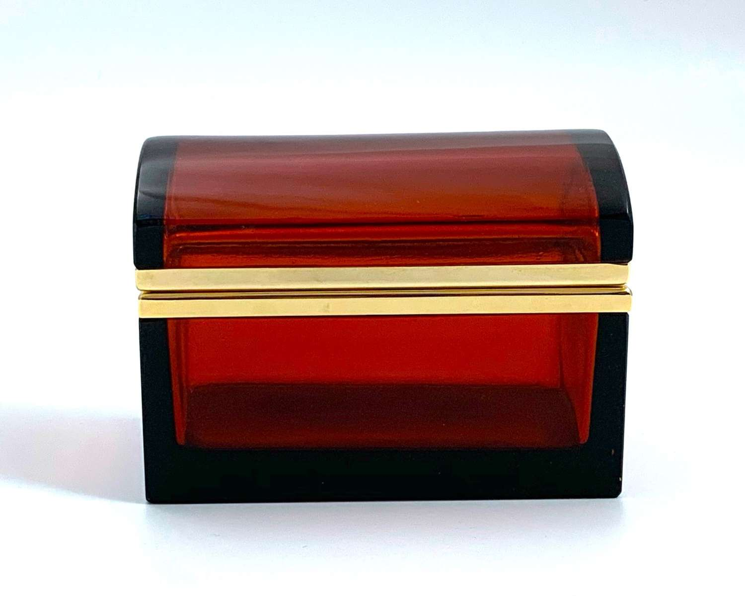 VintageRuby RedGlass Rectangular Casket Box with Domed Lid