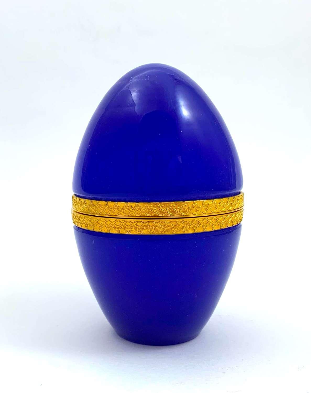 Antique Lapis BlueOpalineGlass Egg Casket Box