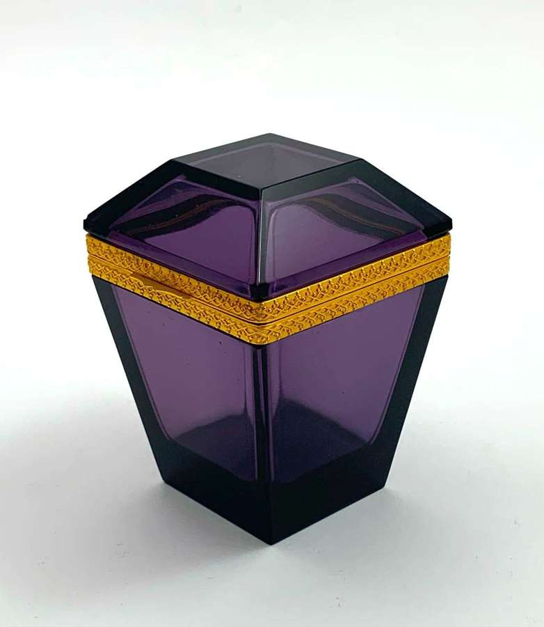 Unusual Antique Amethyst Glass Casket with Dore Bronze Mounts.