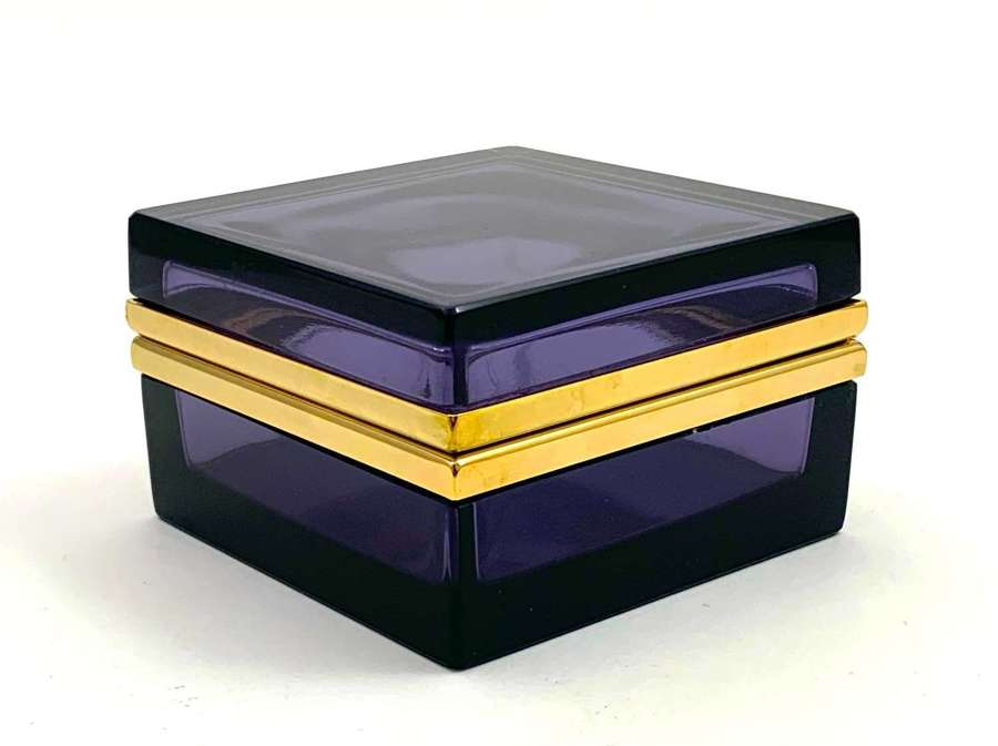 Antique Square Amethyst Glass Casket Box with Smooth Dore Bronze Mount