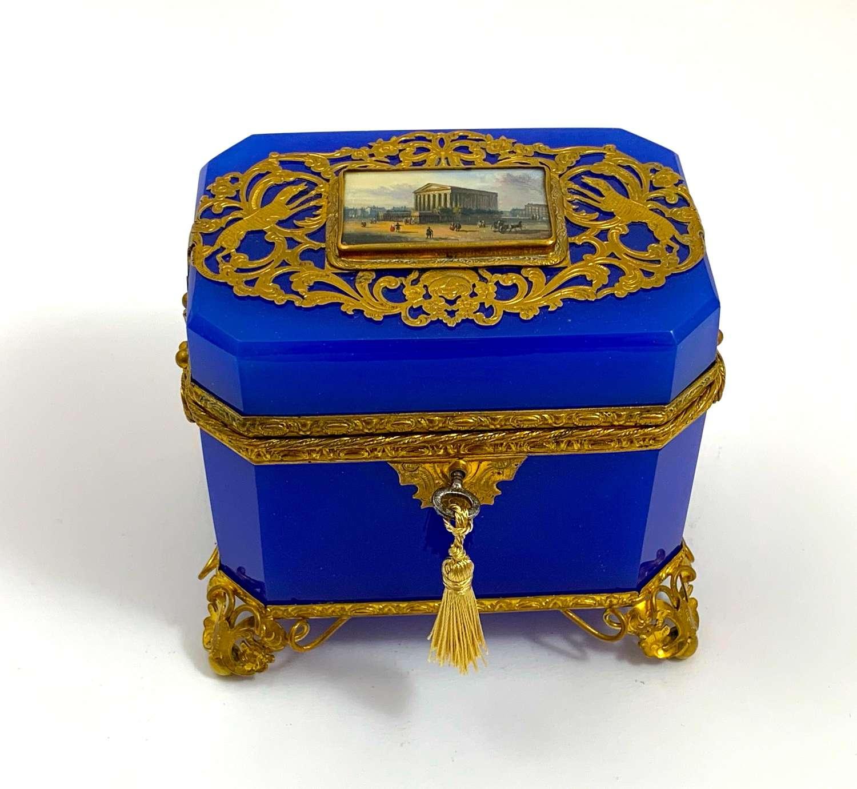 Rare Fine Antique French Lapis BlueOpaline Perfume Casket Box