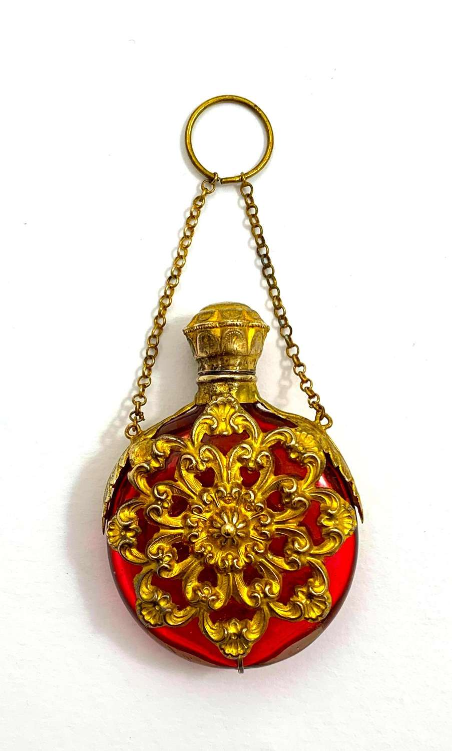 Antique Palais Royal Ruby RedGlass Scent Bottle with Chatelaine