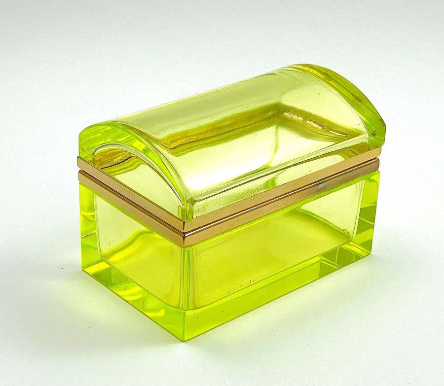 Vintage Uranium Glass Casket Box with Domed Lid