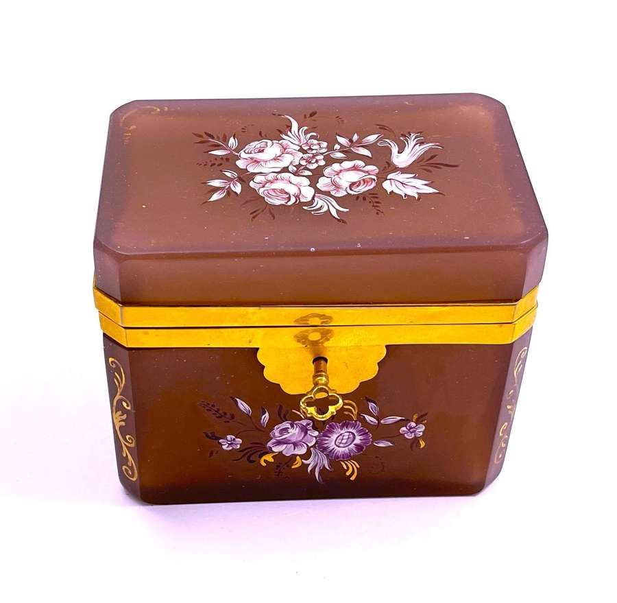 Antique Mauve/ Dirty Pink Opaline Glass Casket Box and Key
