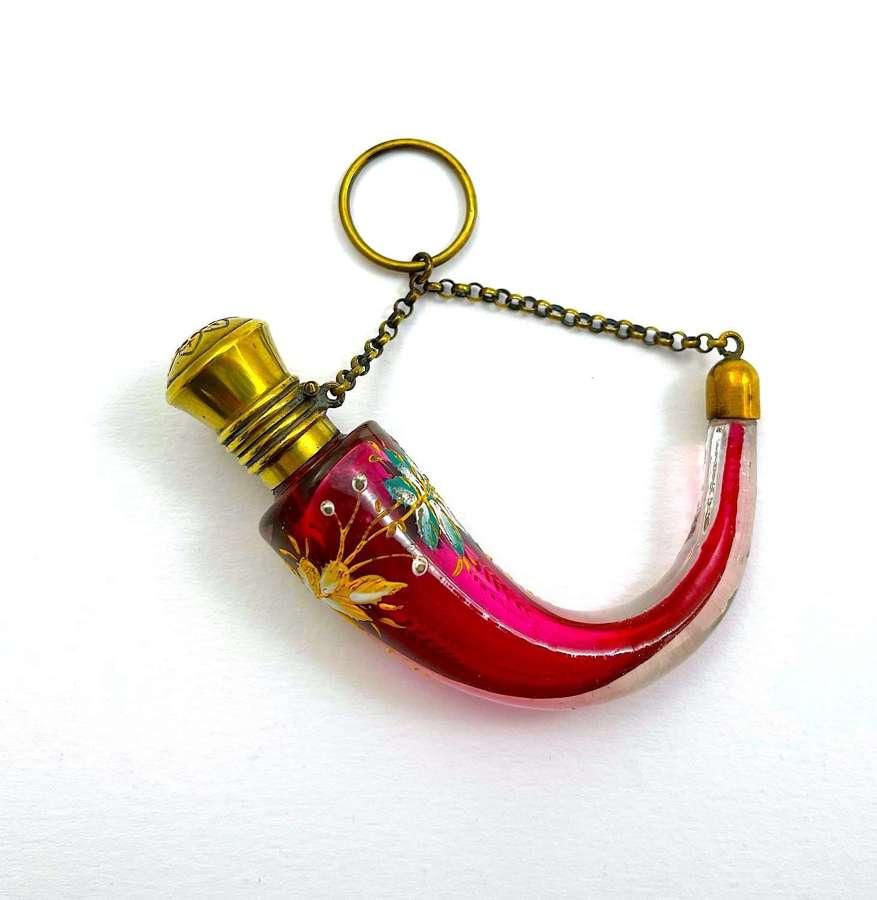 A Stunning MOSER Cranberry Glass Cornucopia Shaped Perfume Bottle
