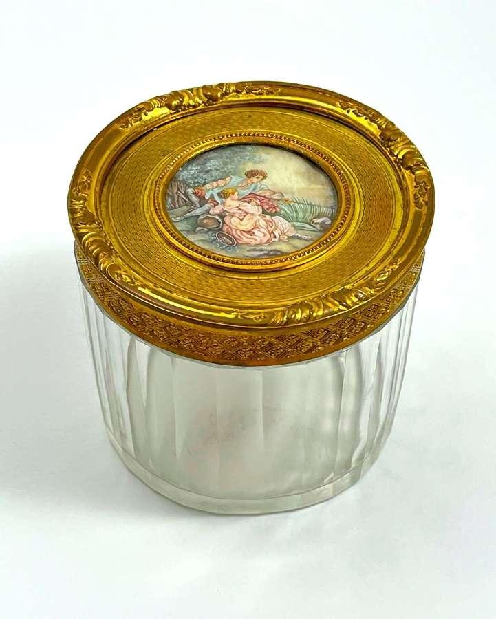 Antique Fine Palais Royal Dore Bronze & Crystal Casket with Miniature