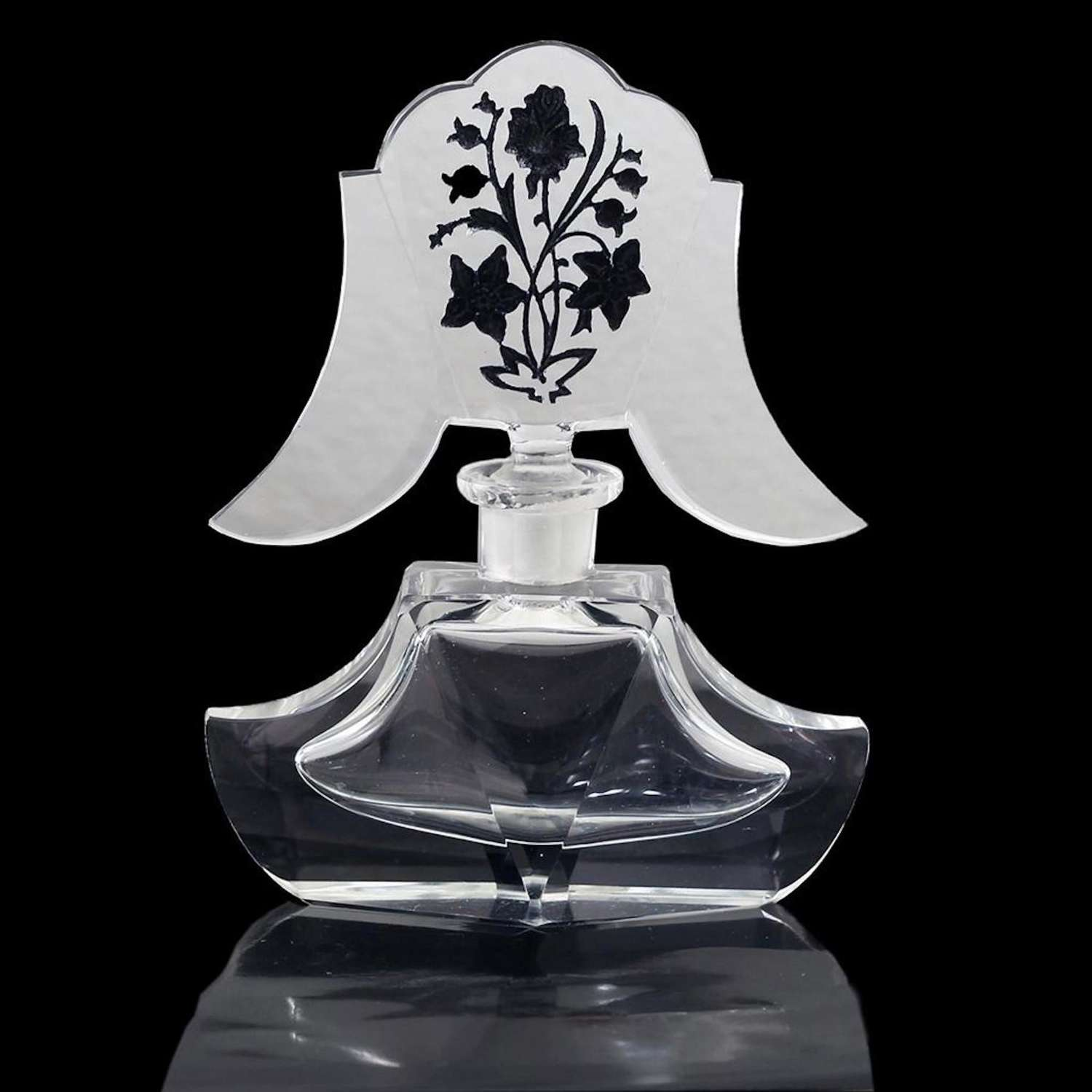 Vintage Bohemian Crystal Perfume Bottle with Fancy Stopper