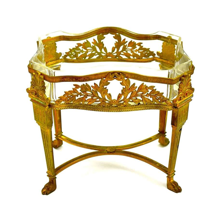 Fine Antique French Louis XV Style Cut Crystal and Dore Bronze Vitrine