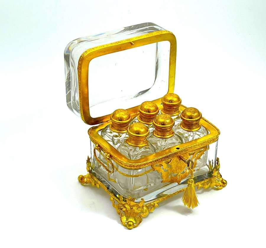 Large Antique Palais Royal Baccarat Perfume Casket with 6 Bottles