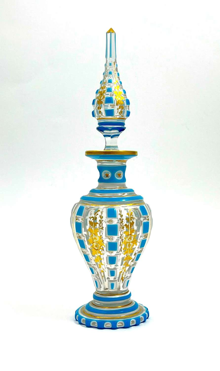 Exquisite BACCARAT Clear and Turquoise Opaline Overlay Perfume Bottle