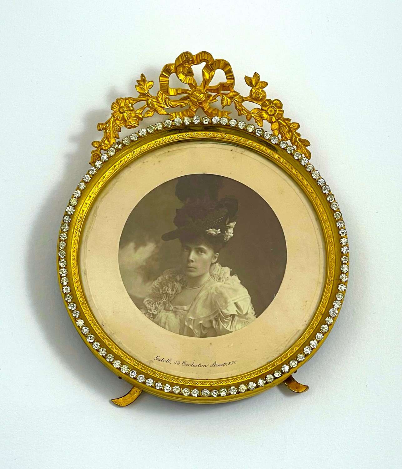 Antique French Empire Dore Bronze Frame Surrounded by Diamante