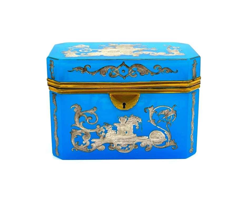 A Stunning Large BlueOpaline Glass' Barfatan' Casket Box