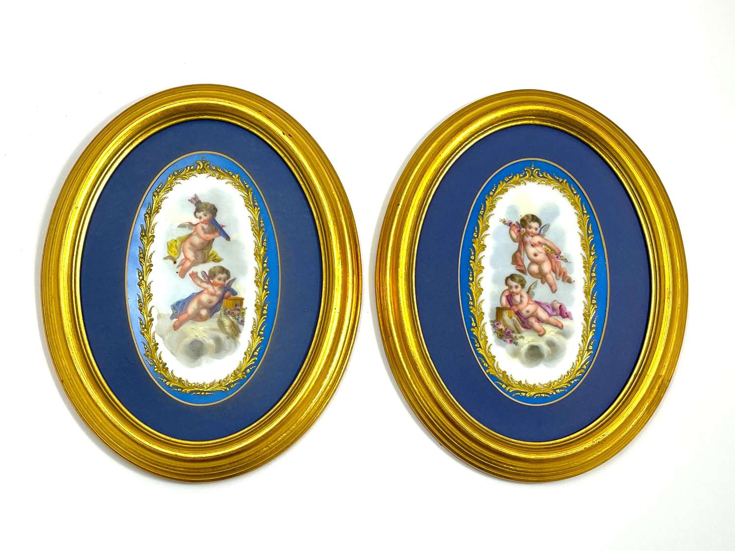 A Pair of Antique French 'Sevres' Turquoise Porcelain Plaques
