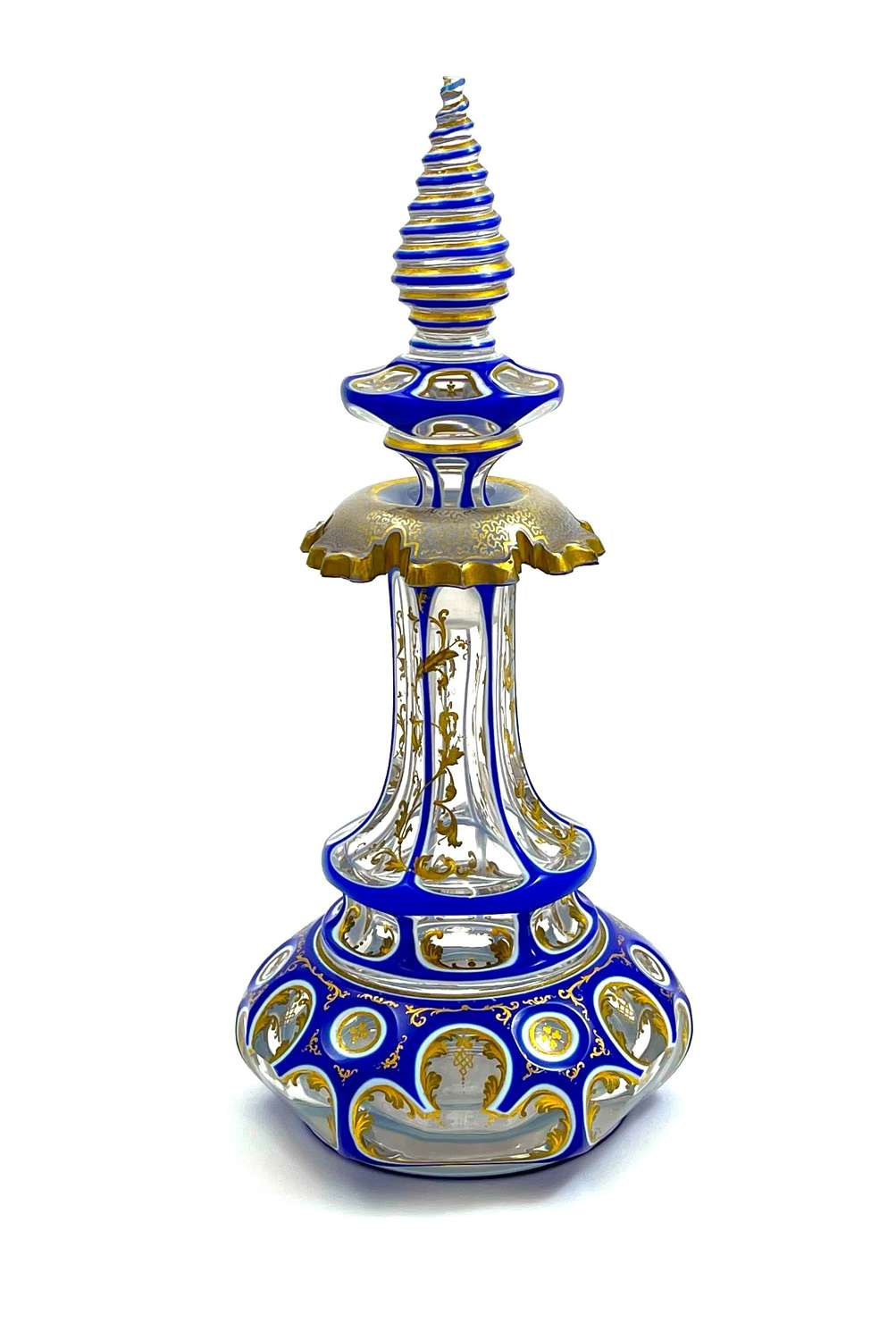 Exquisite, Striking and Fine Quality Bohemian Overlay Perfume Bottle