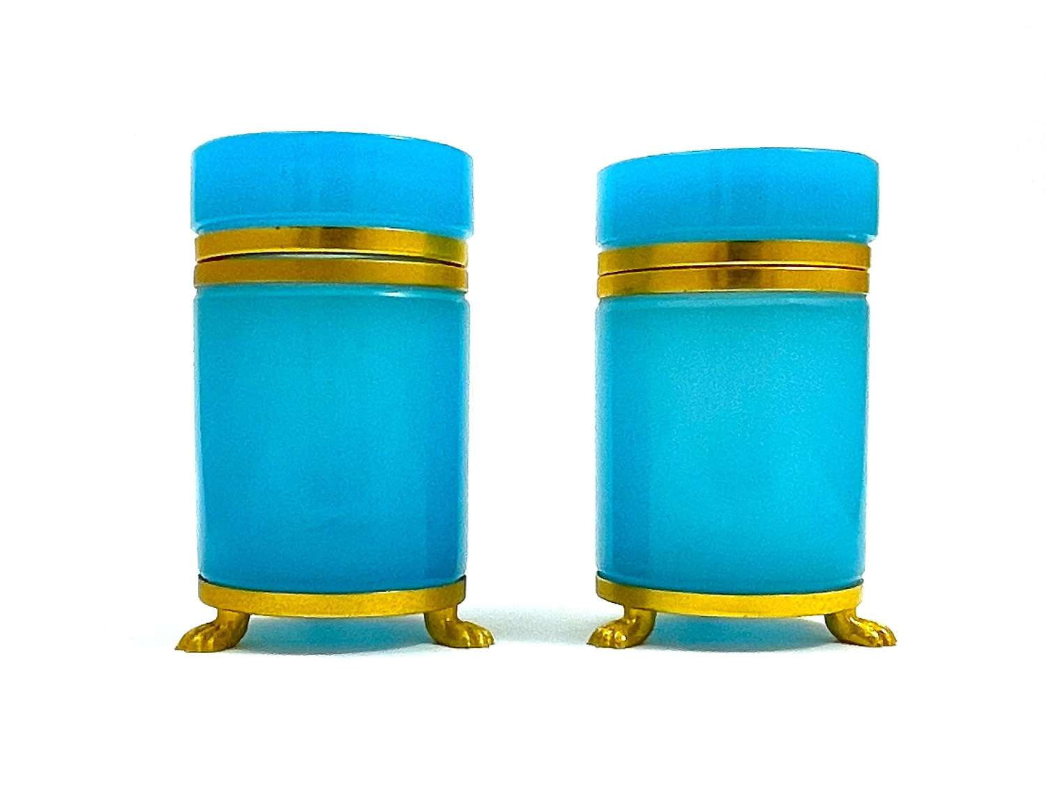 Pair of Antique French Blue Opaline Glass Boxes