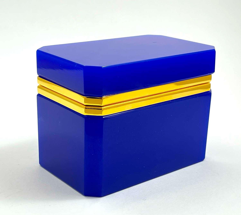 Vintage Murano Lapis Blue Rectangular Glass Casket Box