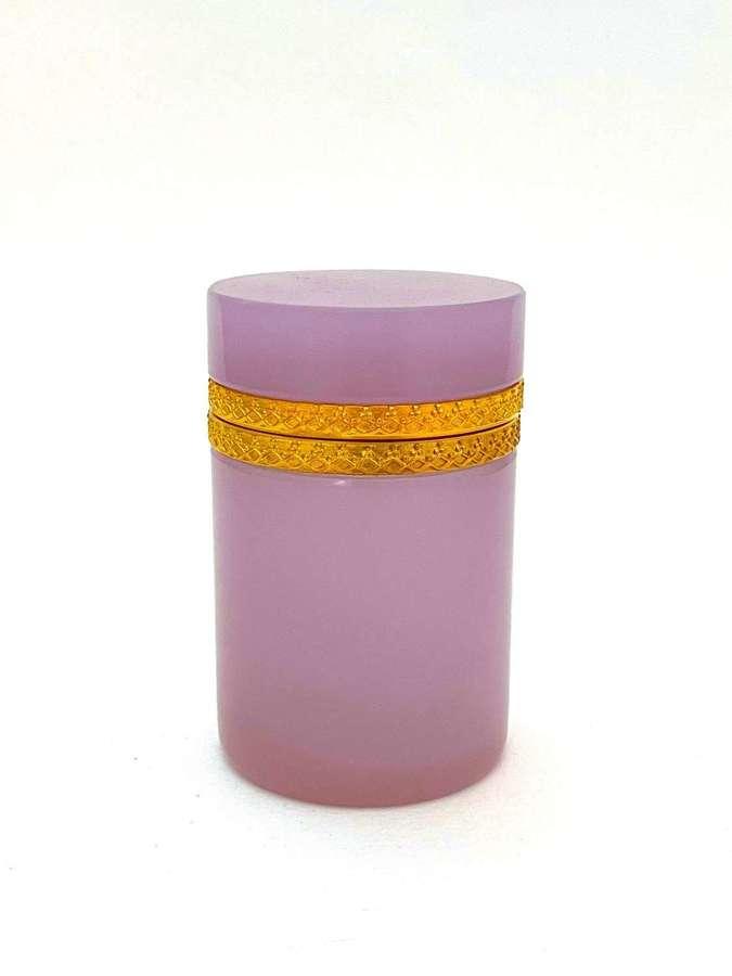 Antique Cylindrical Pink 'Alexandrite' Glass Casket Box