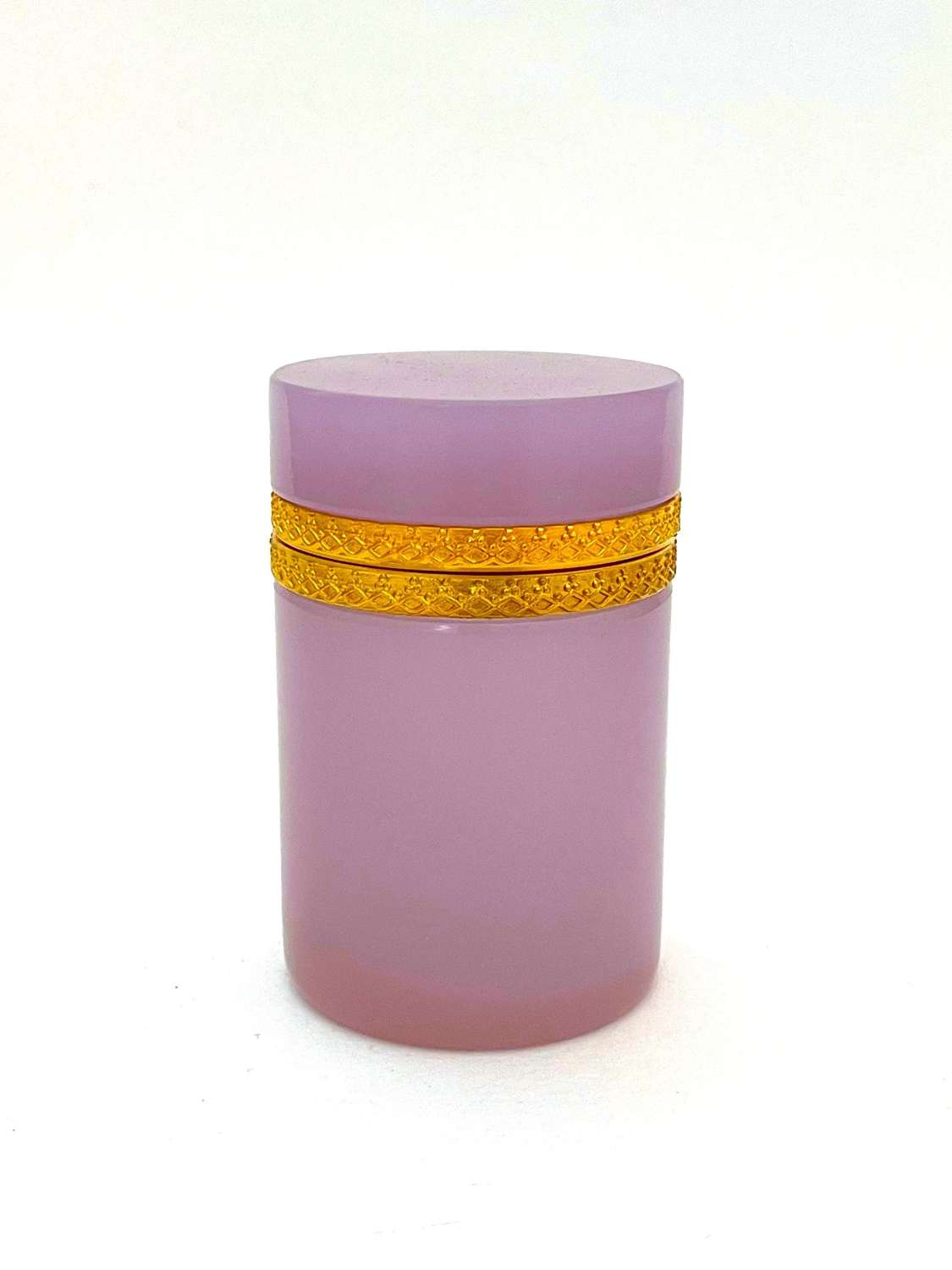Antique Cylindrical Pink 'Alexandrite' Glass Casket Box
