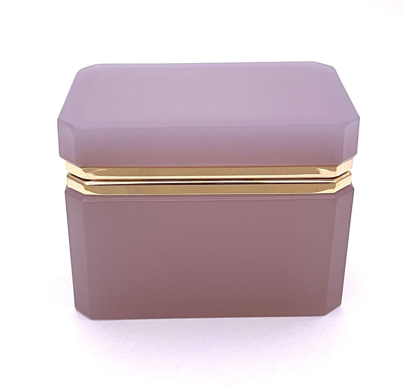 AntiqueRectangularPink 'Alexandrite' Opaline Glass Casket Box