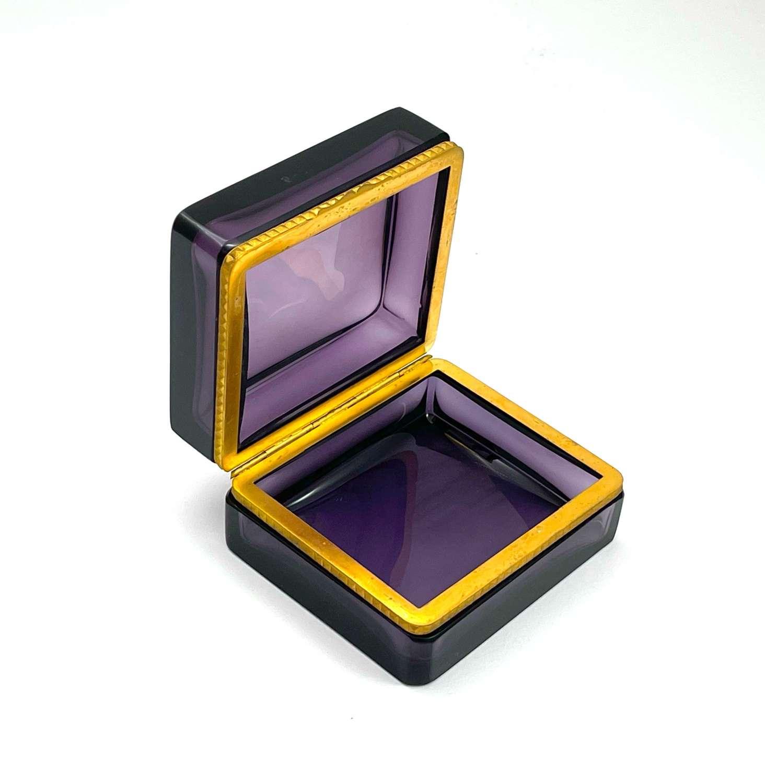 Antique Square Amethyst Glass Casket Box with Fancy Dore Bronze Mounts