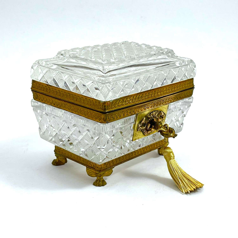 Antique Baccarat Rectangular Cut Crystal Jewellery Casket Box