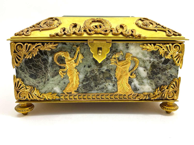 Antique Napoleon III Dore Bronze and Verde Antico Marble Casket