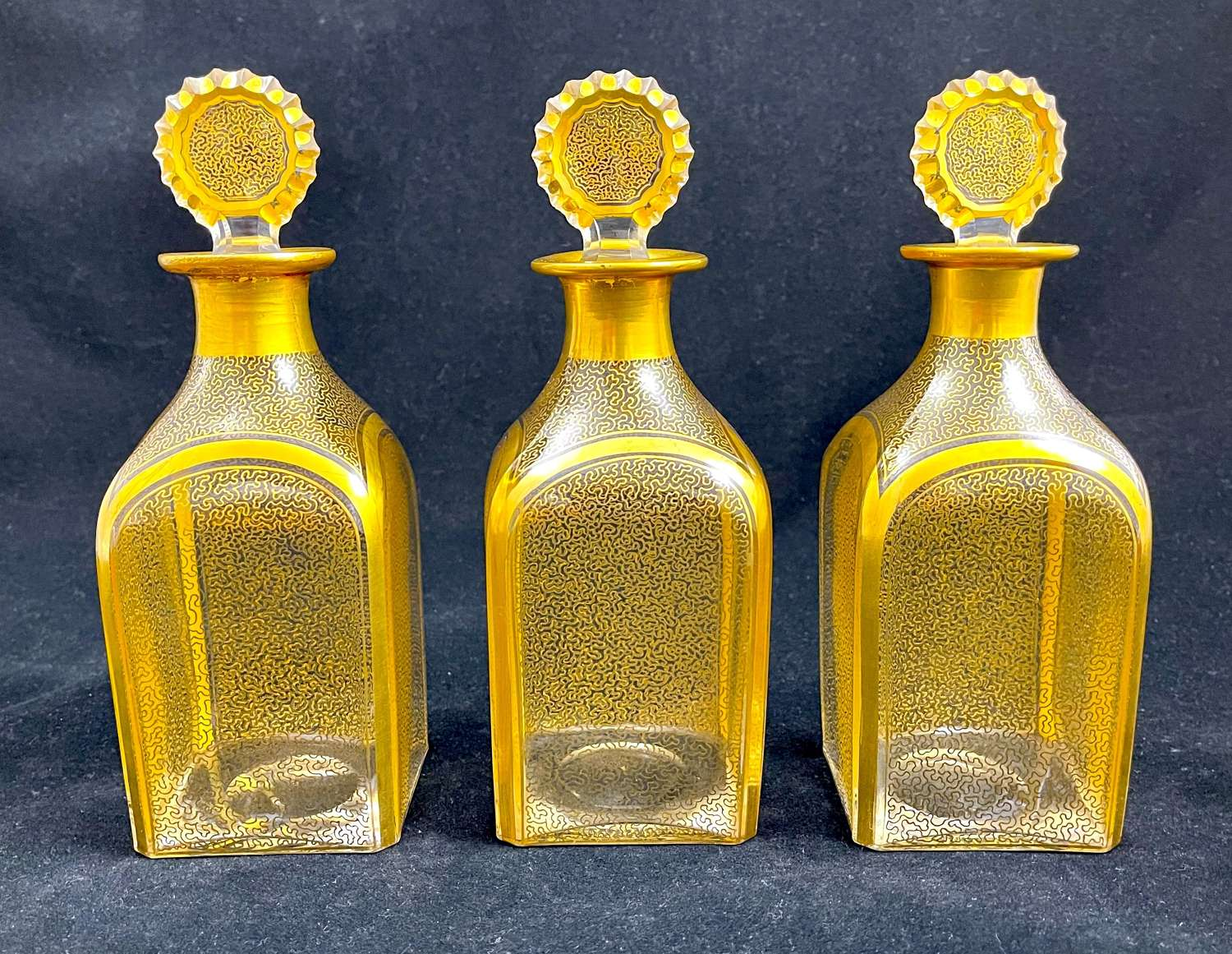 Set of Three Exceptional Quality  Antique Baccarat Gilded Bottles