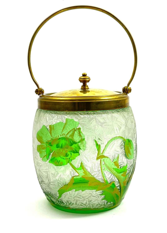 Beautiful Antique BACCARAT Eglantier Acid Etched Biscuit Barrel