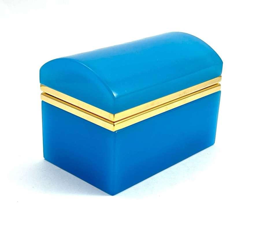 Vintage BlueOpaline Glass Rectangular Casket Box with Domed Lid
