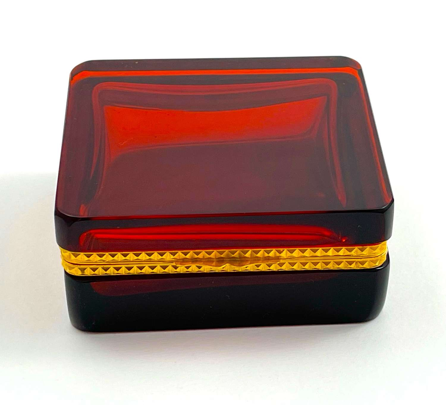 Antique Square Ruby Red Glass Casket Box